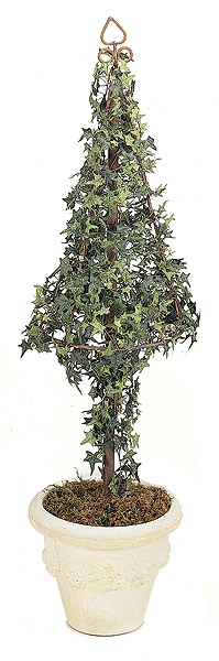 Artificial Topiary Trees, Cone Topiary, 56 inch Pittsburgh Ivy Topiary Iron Cone
